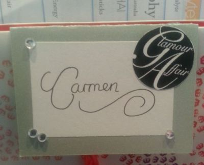 my Glamour affair place card
